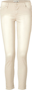 Beige Denim Pants - style: skinny leg; pattern: plain; pocket detail: traditional 5 pocket; waist: mid/regular rise; predominant colour: stone; occasions: casual; length: ankle length; fibres: cotton - stretch; texture group: denim; pattern type: fabric
