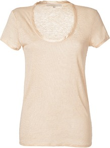 Beige Rose Linen Top - pattern: plain; length: below the bottom; style: t-shirt; predominant colour: blush; occasions: casual, work; neckline: scoop; fibres: linen - 100%; fit: body skimming; sleeve length: short sleeve; sleeve style: standard; pattern type: fabric; texture group: jersey - stretchy/drapey