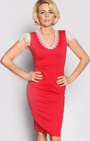 Lydia Bright V Neck Crochet Dress - style: shift; neckline: v-neck; sleeve style: capped; pattern: plain; hip detail: fitted at hip; predominant colour: true red; occasions: evening; length: just above the knee; fit: body skimming; fibres: polyester/polyamide - stretch; sleeve length: sleeveless; texture group: jersey - clingy; pattern type: fabric