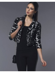 Darling Taylor Biker Zipped Jacket - style: biker; collar: asymmetric biker; length: cropped; fit: slim fit; secondary colour: ivory; predominant colour: black; occasions: evening, occasion; fibres: cotton - stretch; sleeve length: 3/4 length; sleeve style: standard; texture group: lace; collar break: medium; pattern type: fabric; pattern size: small & busy; pattern: patterned/print