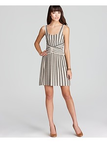 Dress Pleated Stripe - length: mid thigh; sleeve style: standard vest straps/shoulder straps; pattern: vertical stripes; waist detail: wide waistband/cummerbund; secondary colour: ivory; predominant colour: stone; occasions: casual, evening, holiday; fit: fitted at waist &amp; bust; style: fit &amp; flare; neckline: scoop; fibres: cotton - stretch; sleeve length: sleeveless; texture group: cotton feel fabrics; pattern type: fabric; pattern size: standard