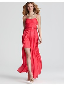 Gown Spaghetti Strap Cutout - style: ballgown; sleeve style: spaghetti straps; pattern: plain; length: ankle length; waist detail: embellishment at waist/feature waistband; neckline: sweetheart; bust detail: ruching/gathering/draping/layers/pintuck pleats at bust; predominant colour: coral; occasions: evening, occasion; fit: fitted at waist &amp; bust; fibres: polyester/polyamide - 100%; hip detail: soft pleats at hip/draping at hip/flared at hip; back detail: longer hem at back than at front; sleeve length: sleeveless; texture group: sheer fabrics/chiffon/organza etc.; pattern type: fabric; embellishment: beading