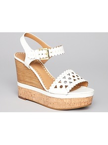 Wedge Sandals  Hiro - predominant colour: white; secondary colour: camel; occasions: casual, evening, holiday; material: leather; heel height: high; ankle detail: ankle strap; heel: wedge; toe: open toe/peeptoe; style: standard; finish: plain; pattern: plain