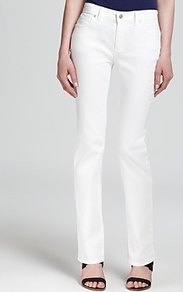 Straight Jeans & Campaign - length: standard; pattern: plain; pocket detail: traditional 5 pocket; style: slim leg; waist: mid/regular rise; predominant colour: white; occasions: casual, evening, holiday; fibres: cotton - stretch; texture group: denim; pattern type: fabric