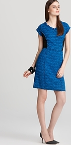 Shift Dress Tweed V - style: shift; length: mid thigh; neckline: v-neck; sleeve style: capped; fit: tailored/fitted; waist detail: fitted waist; predominant colour: diva blue; secondary colour: black; occasions: evening, work; fibres: cotton - mix; sleeve length: sleeveless; pattern type: fabric; pattern size: standard; pattern: patterned/print; texture group: tweed - bulky/heavy
