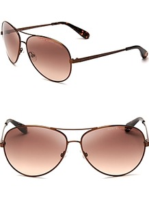 Aviator Sunglasses - secondary colour: pink; predominant colour: chocolate brown; occasions: casual, holiday; style: aviator; size: standard; material: chain/metal; pattern: plain; finish: plain