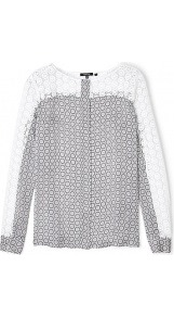 Boat Neck Lace And Geometric Print Blouse - style: blouse; predominant colour: light grey; occasions: casual, work; length: standard; fibres: silk - 100%; fit: straight cut; neckline: crew; sleeve length: long sleeve; sleeve style: standard; texture group: lace; pattern type: fabric; pattern size: standard; pattern: patterned/print