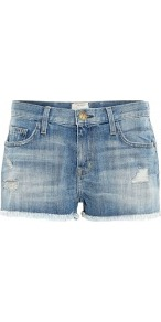 Super Loved Boyfriend Destroy Shorts Current Elliot - pattern: plain; style: shorts; waist detail: fitted waist; pocket detail: traditional 5 pocket; length: short shorts; waist: mid/regular rise; predominant colour: denim; occasions: casual, holiday; fibres: cotton - mix; hip detail: fitted at hip (bottoms); texture group: denim; fit: skinny/tight leg; pattern type: fabric; pattern size: standard; embellishment: fringing