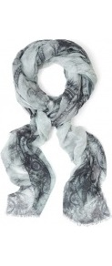 Lace Print Fine Woven Scarf - predominant colour: light grey; occasions: casual, evening, work, occasion, holiday; type of pattern: heavy; style: regular; size: standard; material: fabric; embellishment: fringing; pattern: patterned/print