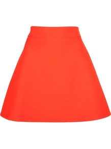 Flared Skirt - length: mid thigh; pattern: plain; fit: loose/voluminous; waist: mid/regular rise; predominant colour: bright orange; occasions: evening, occasion, holiday; style: a-line; fibres: silk - mix; trends: fluorescent, volume; pattern type: fabric; pattern size: standard; texture group: woven light midweight