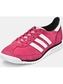 Sl 72 Trainers, Pink - predominant colour: hot pink; occasions: casual; material: leather; heel height: flat; toe: round toe; style: trainers; finish: plain; pattern: striped