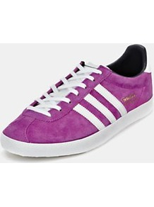 Gazelle Og Trainers, Pink - predominant colour: purple; occasions: casual; material: suede; heel height: flat; toe: round toe; style: trainers; finish: plain; pattern: striped