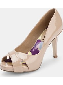 Gertie Peeptoe Court Shoes Nude Patent - predominant colour: nude; occasions: evening, work, occasion, holiday; material: faux leather; heel height: mid; heel: stiletto; toe: open toe/peeptoe; style: courts; finish: patent; pattern: plain