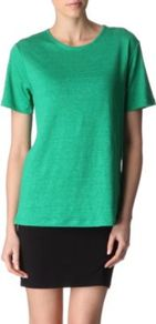 Linen And Silk Blend T Shirt - neckline: round neck; pattern: plain; style: t-shirt; predominant colour: emerald green; occasions: casual, work, holiday; length: standard; fibres: linen - mix; fit: loose; sleeve length: short sleeve; sleeve style: standard; texture group: linen; pattern type: fabric; pattern size: standard