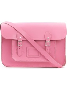 Leather Satchel - predominant colour: pink; occasions: casual, work; style: satchel; length: across body/long; size: standard; material: leather; pattern: plain; finish: plain; embellishment: buckles
