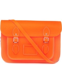 The Fluoro Satchel - predominant colour: bright orange; occasions: casual, work; style: satchel; length: across body/long; size: standard; material: leather; pattern: plain; trends: fluorescent; finish: plain; embellishment: buckles