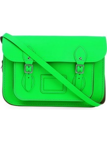 The Fluoro Satchel - predominant colour: lime; occasions: casual, work; type of pattern: standard; style: satchel; length: across body/long; size: standard; material: leather; pattern: plain; trends: fluorescent; finish: fluorescent; embellishment: buckles