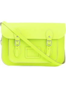 The Fluoro Satchel - predominant colour: yellow; occasions: casual, work; style: satchel; length: across body/long; size: standard; material: leather; pattern: plain; trends: fluorescent; finish: fluorescent; embellishment: buckles