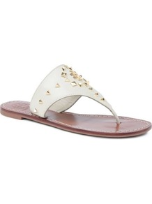 Dale Leather Sandals - predominant colour: ivory; secondary colour: gold; occasions: casual, holiday; material: leather; heel height: flat; embellishment: studs; heel: standard; toe: toe thongs; style: flip flops / toe post; finish: plain; pattern: plain