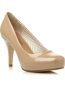 Nude Patent Pu Round Toe Court - predominant colour: camel; occasions: evening, work, occasion; material: faux leather; heel height: high; heel: stiletto; toe: square toe; style: courts; finish: patent; pattern: plain