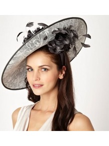 Dark Grey Lace Saucer Hair Piece - secondary colour: ivory; predominant colour: charcoal; occasions: occasion; type of pattern: light; style: wide brimmed; size: large; material: lace; pattern: plain; embellishment: lace