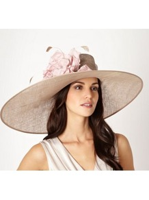Natural Asymmetric Floral Saucer Hat - predominant colour: taupe; occasions: evening, occasion, holiday; type of pattern: light; style: wide brimmed; size: large; material: macrame/raffia/straw; pattern: plain; embellishment: corsage