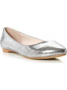 Silver Fabric Mimi Head Over Heels Pointed Toe Ballerina - predominant colour: silver; occasions: casual, evening, work; material: faux leather; heel height: flat; toe: pointed toe; style: ballerinas / pumps; trends: metallics; finish: metallic; pattern: plain