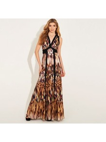 Animal Print Panelled Olympia Maxi Dress - neckline: low v-neck; fit: fitted at waist; sleeve style: sleeveless; style: maxi dress; predominant colour: tan; occasions: casual, evening, occasion, holiday; length: floor length; fibres: polyester/polyamide - 100%; hip detail: soft pleats at hip/draping at hip/flared at hip; sleeve length: sleeveless; texture group: silky - light; trends: statement prints; pattern type: fabric; pattern size: big &amp; busy; pattern: animal print