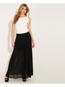 Black Maxi Richmond Skirt - pattern: plain; fit: loose/voluminous; waist detail: fitted waist; waist: mid/regular rise; predominant colour: black; occasions: casual, evening, holiday; length: floor length; style: maxi skirt; fibres: polyester/polyamide - 100%; hip detail: soft pleats at hip/draping at hip/flared at hip; texture group: sheer fabrics/chiffon/organza etc.; pattern type: fabric