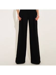 Black Wide Leg Tailored Kensington Trouser - length: standard; pattern: plain; pocket detail: pockets at the sides; waist: mid/regular rise; predominant colour: black; occasions: casual, evening, work; fibres: polyester/polyamide - 100%; texture group: crepes; fit: wide leg; pattern type: fabric; pattern size: standard; style: standard