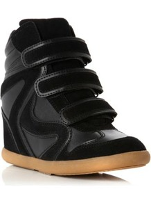 Black Plain Synthetic Lou Lou Head Over Heels Wedge Trainer - predominant colour: black; occasions: casual; material: faux leather; heel height: high; heel: wedge; toe: round toe; boot length: ankle boot; style: high top; finish: plain; pattern: plain