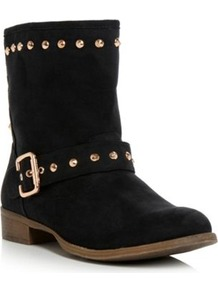 Black Micro Fibre Preeda Head Over Heels Studded Biker Boot - predominant colour: black; occasions: casual; material: faux leather; heel height: flat; embellishment: studs; heel: standard; toe: round toe; boot length: ankle boot; style: biker boot; finish: plain; pattern: plain