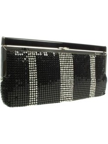 Black Sequin And Diamante Clutch Bag - predominant colour: black; occasions: evening, occasion; type of pattern: standard; style: clutch; length: hand carry; size: small; material: fabric; embellishment: sequins; pattern: striped; finish: metallic