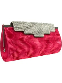 Red Diamante Clasp Clutch Bag - predominant colour: true red; occasions: evening, occasion; type of pattern: small; style: clutch; length: hand carry; size: small; material: fabric; embellishment: crystals; finish: plain; pattern: colourblock