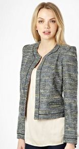 Black Neon Tweed Jacket - collar: round collar/collarless; style: boxy; pattern: herringbone/tweed; predominant colour: black; occasions: casual, evening, work; length: standard; fit: straight cut (boxy); fibres: polyester/polyamide - mix; sleeve length: long sleeve; sleeve style: standard; collar break: high; pattern type: fabric; pattern size: standard; texture group: tweed - light/midweight