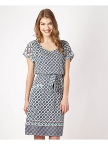 Designer Navy Tile Patterned Dress - neckline: round neck; fit: fitted at waist; style: blouson; hip detail: front pockets at hip; waist detail: belted waist/tie at waist/drawstring; predominant colour: light grey; occasions: casual, holiday; length: just above the knee; fibres: polyester/polyamide - 100%; sleeve length: short sleeve; sleeve style: standard; texture group: silky - light; trends: modern geometrics; pattern type: fabric; pattern size: small &amp; busy; pattern: patterned/print
