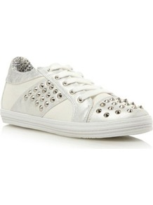 Silver Plain Synthetic Stud Trainer - predominant colour: silver; occasions: casual; material: faux leather; heel height: flat; embellishment: studs; toe: round toe; style: trainers; trends: metallics; finish: plain; pattern: plain