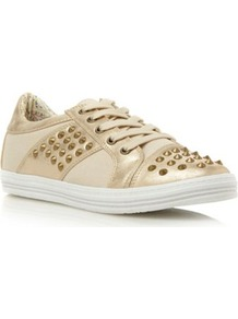 Gold Plain Synthetic Stud Trainer - predominant colour: gold; occasions: casual; material: faux leather; heel height: flat; embellishment: studs; toe: round toe; style: trainers; trends: metallics; finish: plain; pattern: plain