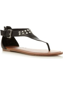 Black Plain Synthetic Studded Toe Thong Sandal - predominant colour: black; occasions: casual, holiday; material: faux leather; heel height: flat; embellishment: studs; ankle detail: ankle strap; heel: standard; toe: toe thongs; style: flip flops / toe post; finish: plain; pattern: plain