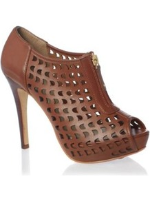 Tan Cut Out Shoe Boots - predominant colour: tan; occasions: casual, evening, work, occasion; material: faux leather; heel height: high; heel: stiletto; toe: open toe/peeptoe; boot length: shoe boot; style: standard; finish: plain; pattern: plain