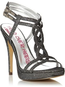 Silver Hellie Head Over Heels Metallic T Bar High Heel Sandal - predominant colour: silver; occasions: casual, evening, occasion, holiday; material: faux leather; heel height: high; embellishment: glitter; ankle detail: ankle strap; heel: platform; toe: open toe/peeptoe; style: strappy; finish: plain; pattern: plain