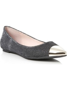 Black Magic Metallic Pointed Toe Cap Ballerina - predominant colour: silver; occasions: casual, evening, work; material: fabric; heel height: flat; toe: pointed toe; style: ballerinas / pumps; trends: metallics; finish: metallic; pattern: plain; embellishment: toe cap