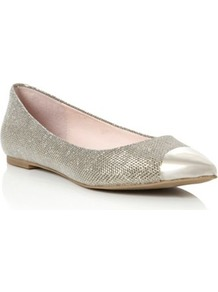 Silver Magic Metallic Pointed Toe Cap Ballerina - predominant colour: silver; occasions: casual, evening, work, occasion; material: fabric; heel height: flat; toe: pointed toe; style: ballerinas / pumps; trends: metallics; finish: metallic; pattern: plain; embellishment: toe cap