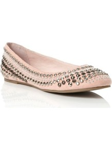 Nude Microfibre Misty Studded Ballerina - predominant colour: nude; occasions: casual, evening, work, occasion; material: fabric; heel height: flat; embellishment: studs; toe: round toe; style: ballerinas / pumps; finish: plain; pattern: plain