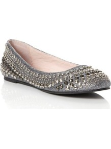 Pewter Misty Studded Ballerina - predominant colour: silver; occasions: casual, evening, work, occasion; material: faux leather; heel height: flat; embellishment: studs; toe: round toe; style: ballerinas / pumps; trends: metallics; finish: metallic; pattern: plain
