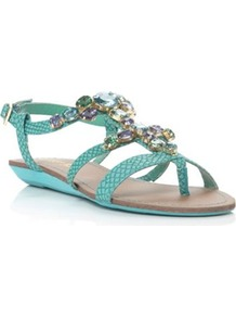 Turquoise Plain Synthetic Jewelled Flat Sandal - predominant colour: turquoise; occasions: casual, evening, holiday; material: faux leather; heel height: flat; embellishment: jewels; ankle detail: ankle strap; heel: standard; toe: toe thongs; style: strappy; finish: plain; pattern: plain