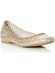 Gold Leather Malawi Leather Woven Flat Ballerina - predominant colour: gold; occasions: casual, work, holiday; material: leather; heel height: flat; toe: round toe; style: ballerinas / pumps; trends: metallics; finish: metallic; pattern: plain