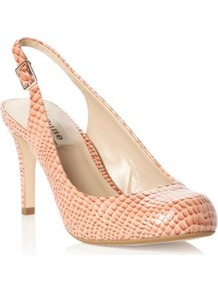 Apricot Patent Chaste Slingback Snakeskin Effect Court Shoe - predominant colour: coral; occasions: evening, work, occasion; material: leather; heel height: mid; heel: stiletto; toe: round toe; style: slingbacks; finish: plain; pattern: animal print