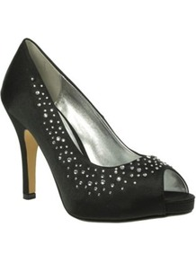 Black Satin Peep Toe Court Shoes With Diamante Trim - predominant colour: black; occasions: evening, occasion; material: satin; heel height: high; embellishment: crystals; heel: stiletto; toe: open toe/peeptoe; style: courts; finish: plain; pattern: plain