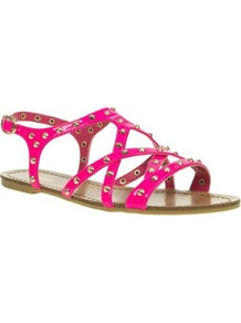 Pink Studded Gladiator Sandals - predominant colour: hot pink; occasions: casual, evening, work, holiday; material: faux leather; heel height: flat; embellishment: studs; ankle detail: ankle strap; heel: standard; toe: open toe/peeptoe; style: gladiators; trends: fluorescent; finish: fluorescent; pattern: plain
